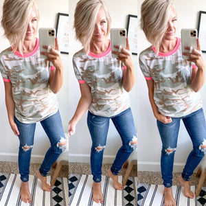 Pink and Camo Top - Maple Row Boutique
