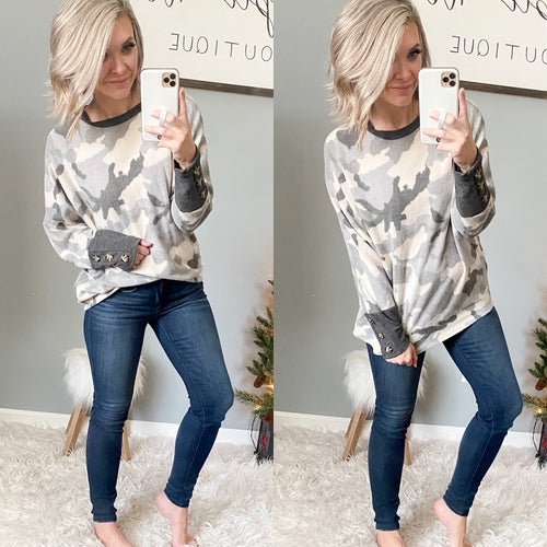 Grey Camo Cozy Dolman - Maple Row Boutique