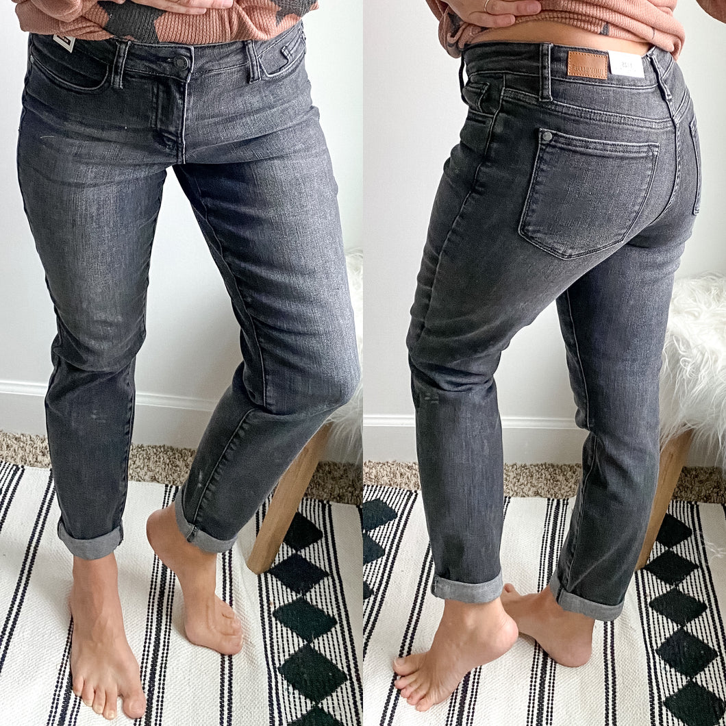 Judy Blue Charcoal Boyfriend Jeans - Maple Row Boutique