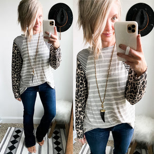Leopard Stripes Top - Maple Row Boutique