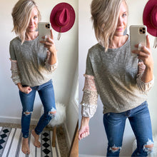Load image into Gallery viewer, Grey Leopard Ruffle Sleeve Top - Maple Row Boutique