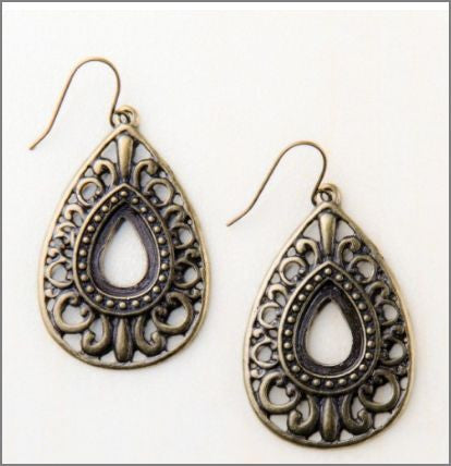 Francina Antique Gold - Swirl Teardrop Earrings