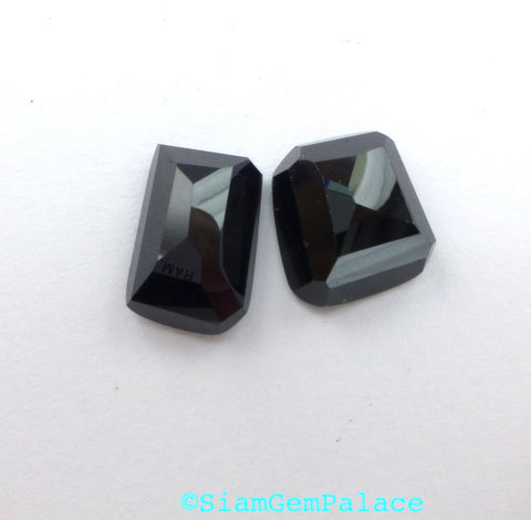 Onyx Cabochons. Faceted Cabochon. Natural Gemstones. 2 pc. 17.14 cts. 10x14 and 11x13 mm  (OX200) - Siam Gem Palace - 1