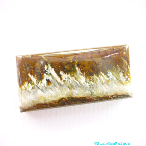 Linda Marie Agate Cabochon. JaSpEr Gorgeous White Flames. Forests of Plumes. Designer Cab. Can Be Drilled 37x19x7mm  (PJ302) - Siam Gem Palace - 1