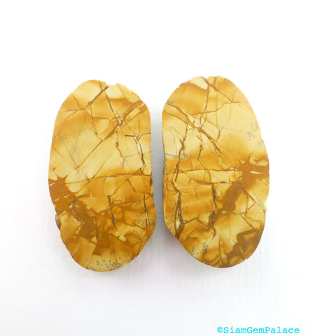 Picture Jasper Cabochons. Natural Stone. Matched Jasper Earring Stones. One Side Smooth. One Side Raw/Tumbled. 2 pc. 27x12x5 mm  (PJ293) - Siam Gem Palace - 1
