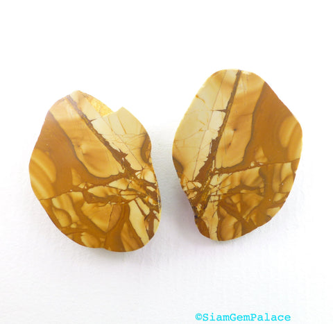 Picture Jasper Cabochons. Natural Stone. Matched Jasper Earring Stones. One Side Smooth. One Side Raw/Tumbled. 2 pc. 23x30x8 mm  (PJ294) - Siam Gem Palace - 1