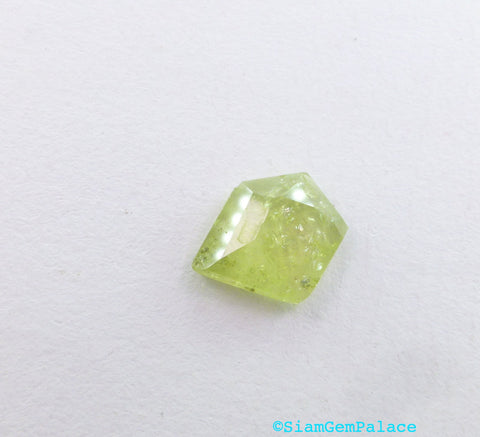 Garnet Cabochon Rose Cut. Natural Grossular Green Garnet Tavernier Cut Geometric Shape. Low Dome. 1 pc. 4.55 cts. 13x11 x4 mm (GA834) - Siam Gem Palace - 1