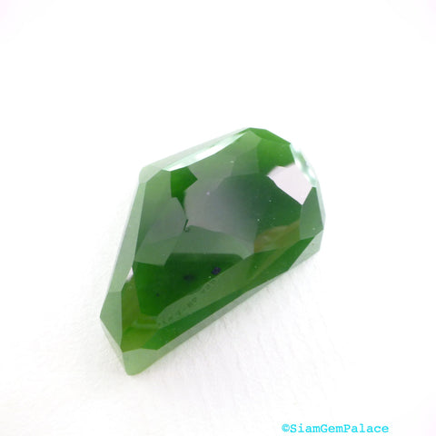 GREEN Jade Faceted Cabochon. Natural nephrite jade.  British Columbia Canada. No Treatments. Can BE Drilled. 51.03 cts 34x20x8mm (JD247) - Siam Gem Palace - 1
