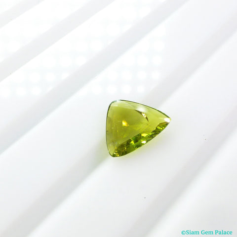 Tourmaline Triangle Flat Cabochon. Natural. Chartreuse Lime Green. Set Upside Down For Rose Cut. 1 pc. 0.91 cts. 8x8.5.x2.5 mm (TM2287) - Siam Gem Palace - 1