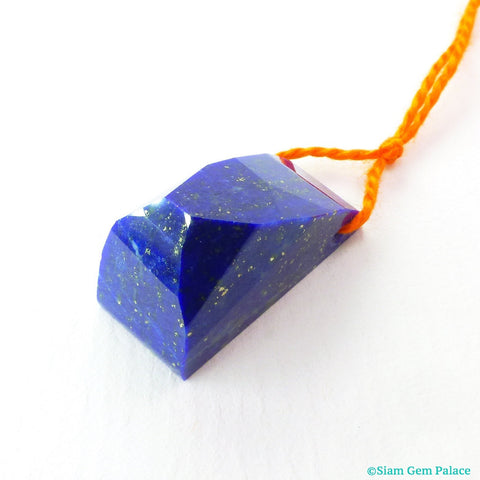LAPIS LAZULI. Natural. Pendant Bead. Geometric. Deep Blue with Pyrite Specks. HiGH Quality.  1 pc. 22.39 cts. 10x22x13 mm (Lap252)