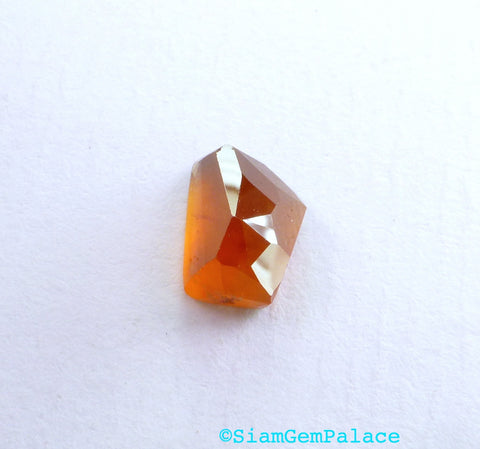 Orange Garnet Hessonite  Faceted Cabochon. Natural Gemstone. Geometric Tavernier Cut Rock Candy Gem Cab. 1 pc. 4.02 cts. 10x7 mm (GA949) - Siam Gem Palace - 1