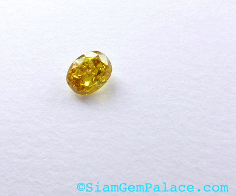 Natural YELLOW DiAMOND. CONFLiCT-FRee. Mined in Australia. Oval. Fancy Vivid Yellow. Si2. 1 pc. 0.25 cts. 3.1x4.0mm  (Dia237) - Siam Gem Palace - 1