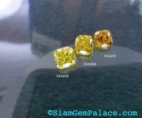 Natural YELLOW DiAMOND. CONFLiCT-FRee. Mined in Australia. Cushion. Fancy Vivid Yellow. Si1. 1 pc. 0.15 cts. 2.60x2.90mm  (Dia232) - Siam Gem Palace - 1