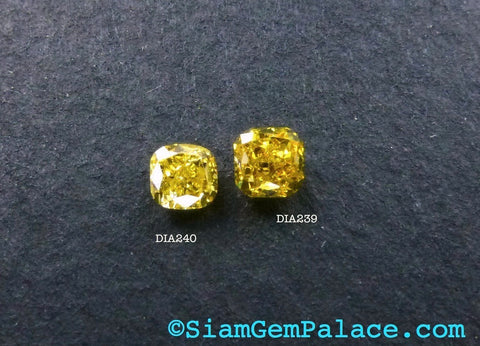 Natural YELLOW DiAMOND. CONFLiCT-FRee. Mined in Australia. Cushion. Fancy Intense Yellow. Vs2. 1 pc. 0.15 cts. 2.70x2.80mm  (Dia240) - Siam Gem Palace - 1