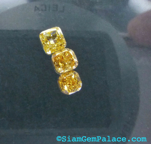 Natural YELLOW DiAMOND. CONFLiCT-FRee. Mined in Australia. Cushion. Fancy Intense Yellow. Vs2. 1 pc. 0.19 cts. 3.10 x 3.20 mm   (Dia234) - Siam Gem Palace - 1