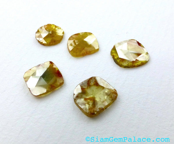 DiAMOND SLiCES. Faceted. Natural. Red / Orange Inclusions on Yellow Body. Free Form. 1 pc. 0.90 cts. 7.2X7.5 mm (Dia272E) - Siam Gem Palace - 1
