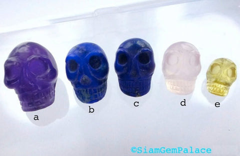 LAPIS SKULL Cabochons. LARgE Hand Carved DeeP BlUe LaPiS. Memento Mori. 1pc. 15.25 cts. 17mm (Sk100C) Can Be Drilled - Siam Gem Palace - 1