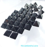 ONYX parcel. Natural. STuD CABoCHONS. PYRAMiDs. 1/2 Drilled. 10 pc. 10.0 cts. 8mm (Ox171-10) - Siam Gem Palace - 3