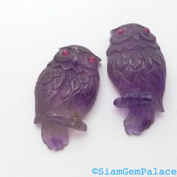 AMETHYST OWL. Hand Carved. Natural. Detailed. Super High Quality Carving. LarGE. Ruby Eyes. 1 pc. 19.80 cts. 16x28x6.5 mm (Am930A) - Siam Gem Palace - 1