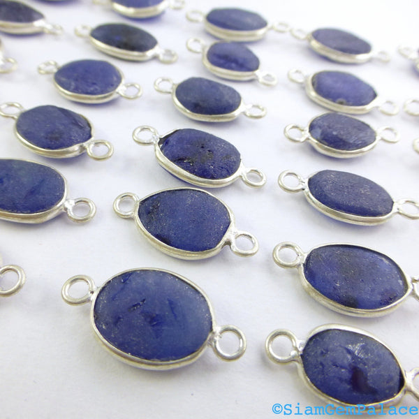SAPPHIRE. Rough Sapphire. CONNEcTOR LiNKS. Freeform. SMaLl SiZe. Sterling Silver. 5 pc. 14.0 cts. 8-10 mm (C-S1-sm-silv) - Siam Gem Palace - 1