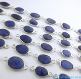 SAPPHIRE. Rough Sapphire. CONNEcTOR LiNKS. Freeform. SMaLl SiZe. Sterling Silver. 5 pc. 14.0 cts. 8-10 mm (C-S1-sm-silv) - Siam Gem Palace - 5