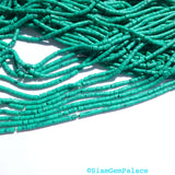"MALACHITE beads. MaTTE Finish Heishi Beads. Reconstituted Malachite. SuPER SaTurated COlor. 14"" strand. 2 Strands. 2mm (H-Mal100-2) - Siam Gem Palace - 4"