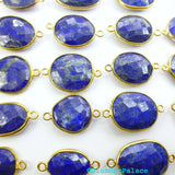 LAPIS LAZULi. CoNNEcTOR LiNKS. Natural. MEDiUm SiZe. Flat Rose Cut Polki. VERMEiL. 5 pc. 45.0 cts. 14 to 19 mm (C-Lap1gold) - Siam Gem Palace - 1