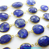 LAPIS LAZULi. CoNNEcTOR LiNKS. Natural. MEDiUm SiZe. Flat Rose Cut Polki. VERMEiL. 5 pc. 45.0 cts. 14 to 19 mm (C-Lap1gold) - Siam Gem Palace - 3