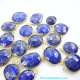LAPIS LAZULi. CoNNEcTOR LiNKS. Natural. MEDiUm SiZe. Flat Rose Cut Polki. VERMEiL. 5 pc. 45.0 cts. 14 to 19 mm (C-Lap1gold) - Siam Gem Palace - 5