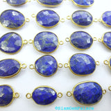 LAPIS LAZULi. CoNNEcTOR LiNKS. Natural. MEDiUm SiZe. Flat Rose Cut Polki. VERMEiL. 5 pc. 45.0 cts. 14 to 19 mm (C-Lap1gold) - Siam Gem Palace - 2