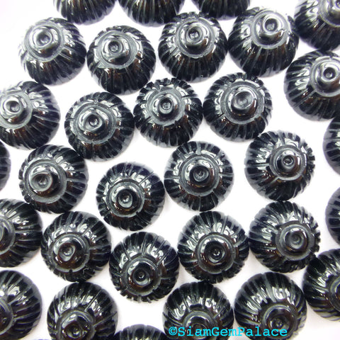 PrIcEd To CeLL BLaCK ONYX Carved SNAiL Shell Earring, Ring & Cufflink Stones. Round. Can Be Drilled 12 pc. 10 mm (Ox335-12) - Siam Gem Palace - 1