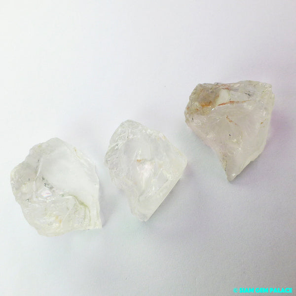 QUARTZ. Natural. Clear Quartz. Large. Rough Gems. Mineral Crystals. Flat Back for EZ Setting. 3 pc. 75 cts. 18 to 23 mm  (QTZ366) - Siam Gem Palace - 1
