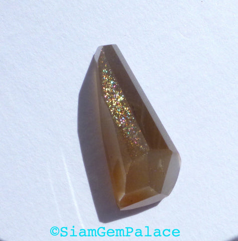 Gray MOONSTONE faceted cab. Natural. Tavernier Cut. Geometric. 1 pc. 9.16 cts. 10x23x7 mm (MS388) - Siam Gem Palace - 1
