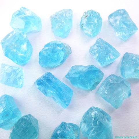 Natural Apatite Cookie Cabochons. Rough Surface. Smooth Flat Back. EZ Setting. Freeform. 16 pc. 53 cts. 6x9 to 8x11 mm (AP427) - Siam Gem Palace - 1