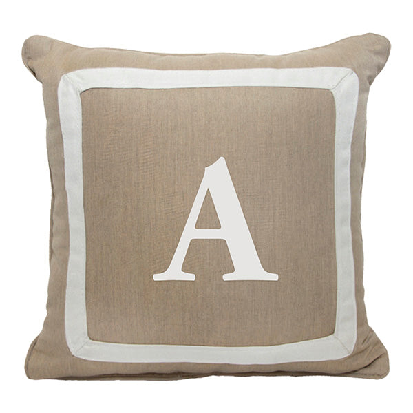 "Bold Garamond<br>Custom Monogram<br><small>18"" x 18"" - Heather Beige</small>"
