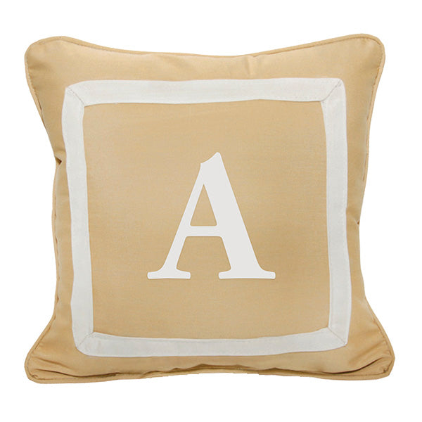 "Bold Garamond<br>Custom Monogram<br><small>18"" x 18"" - Canvas Wheat</small>"
