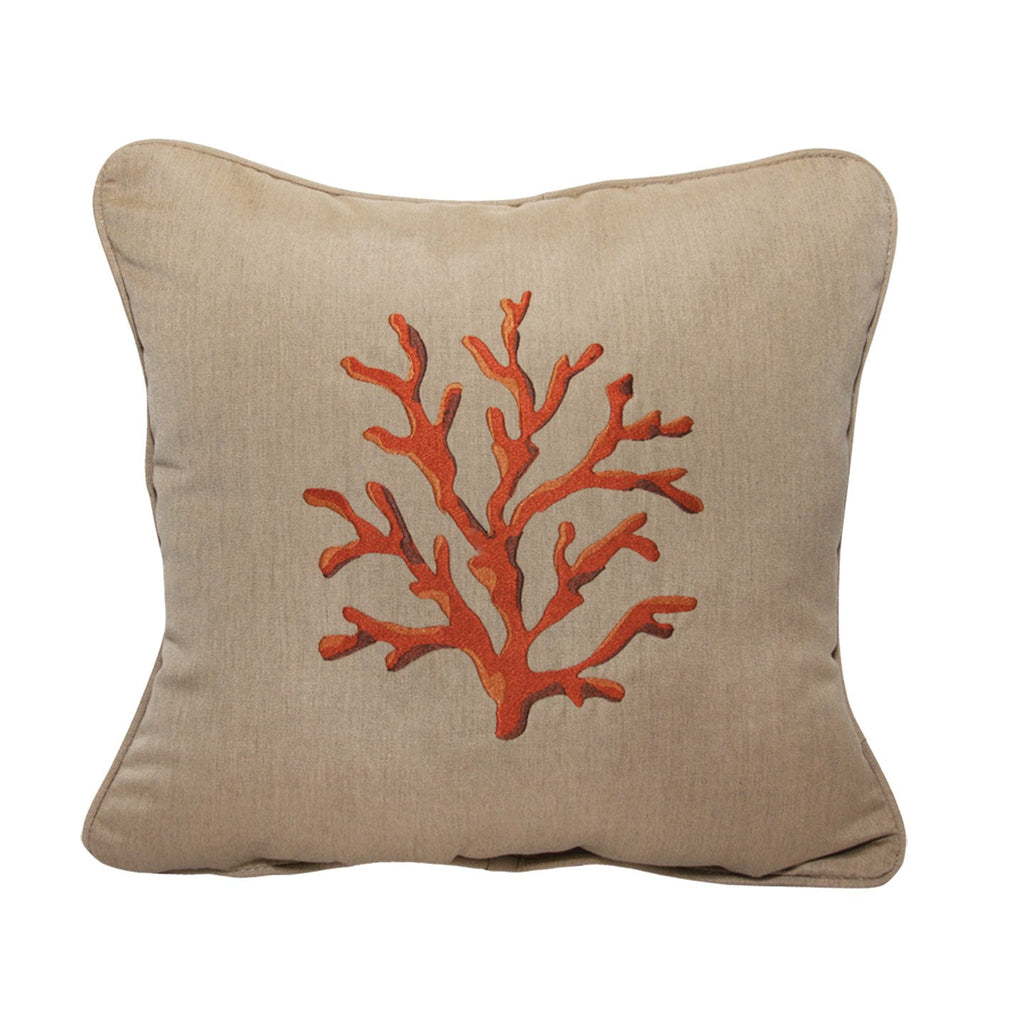 "Coral Embroidery<br><small>18""x18"" - Canvas Heather Beige</small>"