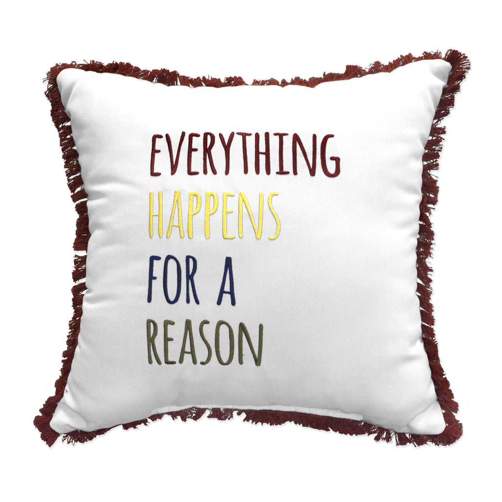 "Everything Happens Embroidery with Fringe<br><small>18""x18""- Canvas Canvas </small>"