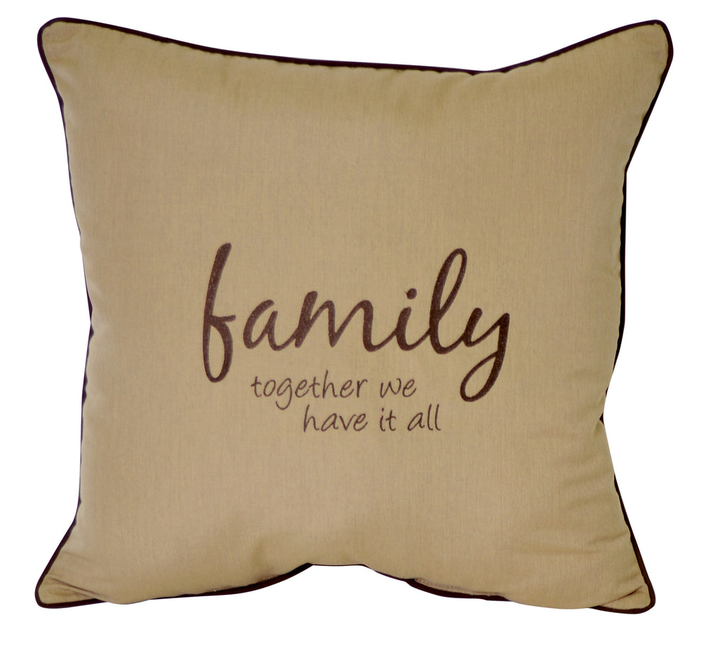 "Family Together We Have It All<br><small>Embroidery<br>24""x24"" - Canvas Heather Beige</small>"