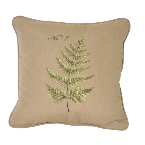 "Green Fern Embroidery<br><small>18""x18"" - Canvas Heather Beige</small>"