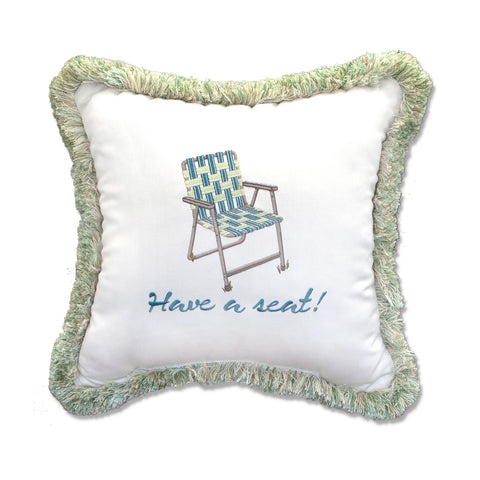 "Have a Seat Embroidery with Fringe<br><small>18""x18"" - Canvas Canvas</small>"