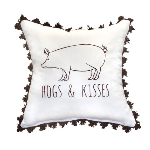 "Hogs & Kisses Embroidery<br>with Fringe<br><small>18""x18""- Canvas Canvas </small>"