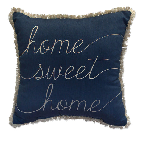 "Home Sweet Home Embroidery with Fringe<br><small>18""x18"" - Spectrum Indigo</small>"
