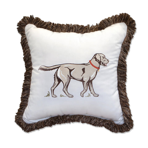 "Man's Best Friend Embroidery with Fringe<br><small>18""x18"" - Canvas Canvas</small>"
