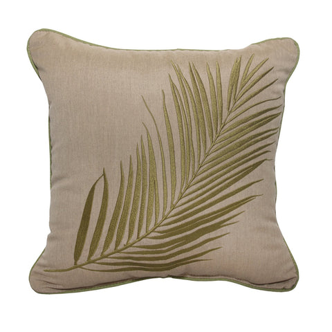"Palm Embroidery<br><small>18""x18""- Canvas Heather Beige</small>"
