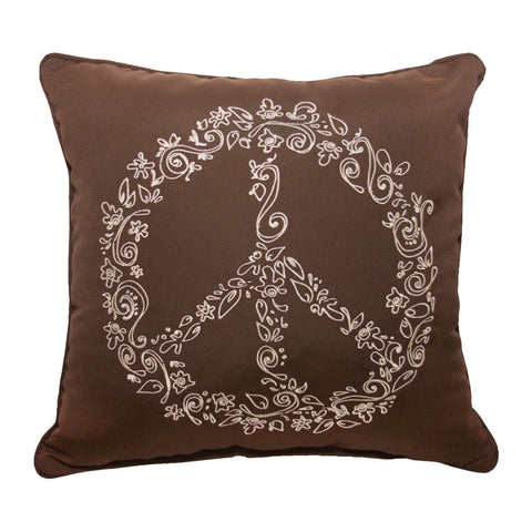 "Peace Embroidery<br><small>18""x18"" - Canvas Bay Brown</small>"