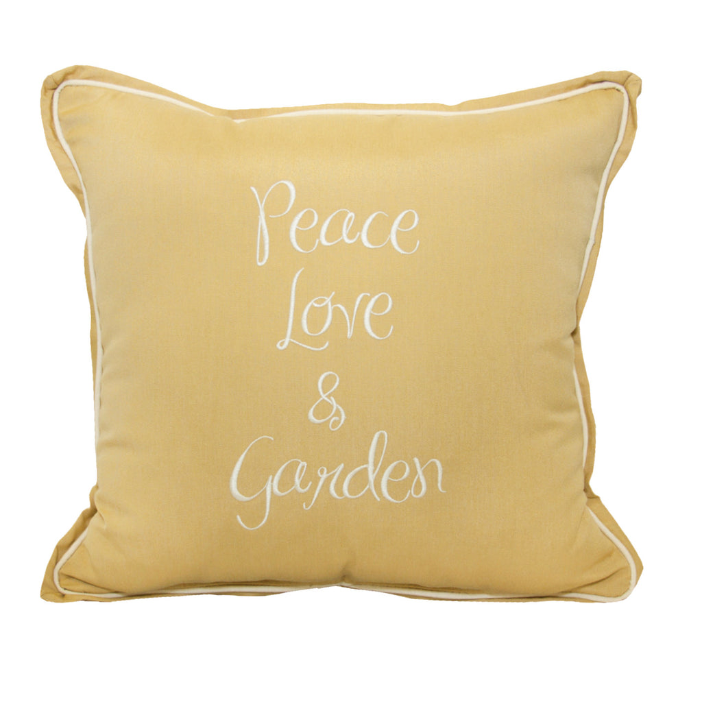 "Peace Love Garden Embroidery<br><small>18""x18"" - Canvas Wheat</small>"