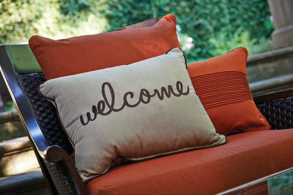 "Welcome Embroidery<br><small>16""x20"" - Canvas Heather Beige</small>"
