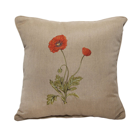 "Poppy Embroidery<br><small>18""x18"" - Canvas Heather Beige</small>"