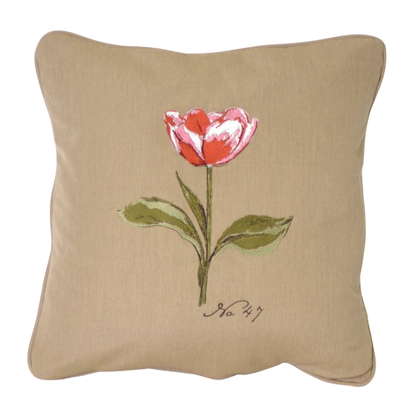 "Tulip Embroidery<br><small>18""x18"" - Canvas Heather Beige</small>"